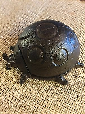 Cast Iron Rustic Lady Bug Shaped Garden Accent or Outdoor Key Holder Hider NEW