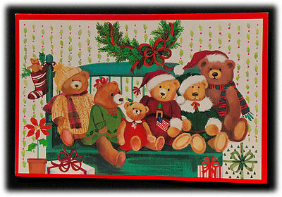 Vintage Brick Mill Studios Plush Teddy Bears Old Fashioned Christmas Year Card