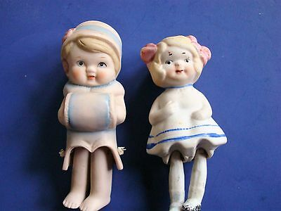 SHACKMAN Vintage Sweet BISQUE 2 Dolls  JAPAN and 1 Older Japan  Pin joint legs