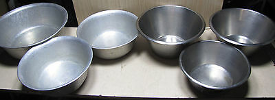 """6 x catering commercialuminium & stainless steel mixing bowls 14"""" - 20"""" diameter"""