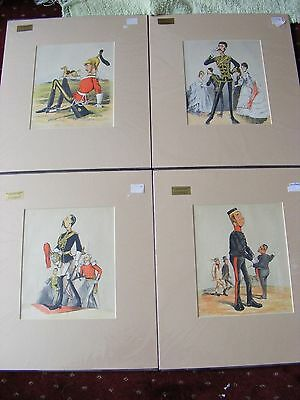 "4 STUNNING LARGE ANTIQUE MOUNTED CHROMOLITHOGRAPH SOLDIER PRINTS 14"" x 16"""