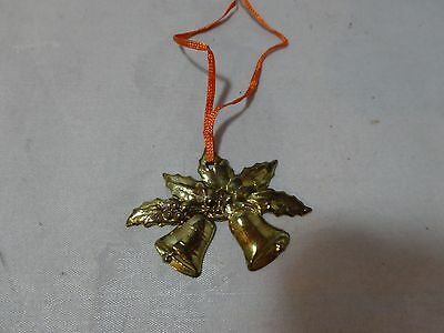 "Vintage 50s CHRISTMAS BELLS Pressed BRASS Ornament Package Decor 2"" Woven RIBBON"