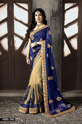 Sari Indian Bollywood Party Wear Saree Pakistani Wedding Bridal Ethnic Sari 7102