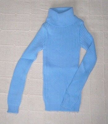 Vintage Skinny Rib Polo-Neck Sweater - Age 10-11 - Pale Blue - Acrylic - New