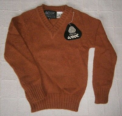 Vintage Ladybird Shetland Wool Sweater - 8 Years Approx - Cinnamon -V-Neck -New