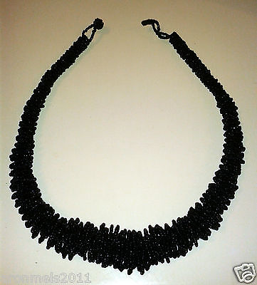 Vintage Beaded Black Statement Necklace - Bold And Beautiful