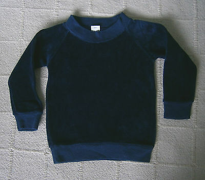 Vintage Baby Velour Long Sleeve Top - Age 1 - Navy- Cotton/Nylon - Defects - New
