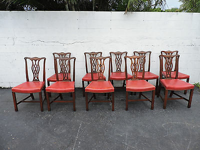 Set of 12 Chippendale Style Vintage Mahogany Dining Chairs  7903