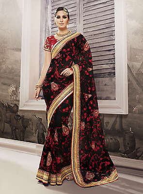 Indian Pakistani Women Saree Sari Party Wear Wedding Bridal Ethnic Dress 403