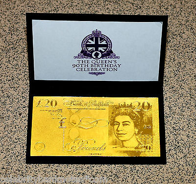 PURE 24K GOLD **£20** QUEENS 90TH BIRTHDAY - 9.999 PROOF Banknote/Bill RARE*