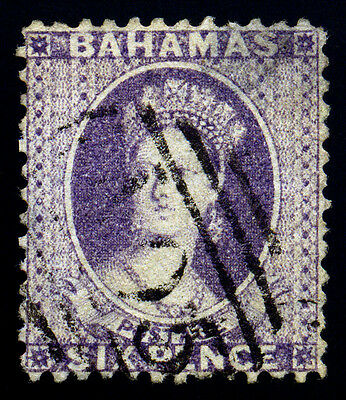 Bahamas. 1862. 6d. Violet. SC# 10. SG# 19. Perf 13. 'A05' Used. Thin. SCV $ 600