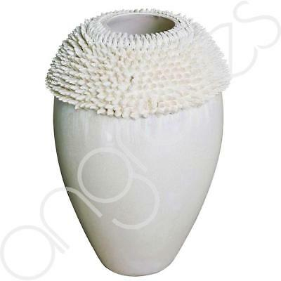 Mother Of Pearl Cream Flower Large Sea Urchin Vase (44.5cm) Home Decoration Deco