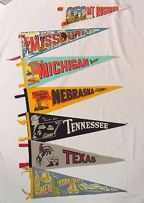 Vintage State Pennants Lot of 7 NY, NE, TN, TX, MI, MO, and SD Mt Rushmore.