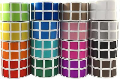 Square Stickers, 1/2 Inch Wide, 1000 Labels on a Roll, 29 Color Choices