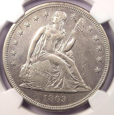 1863 Seated Liberty Silver Dollar $1 - NGC AU Details - Rare Civil War Date!