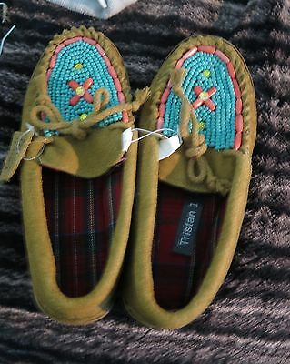 Beaded Leather Moccasins with teal and pink beading