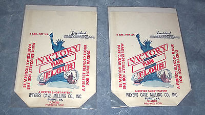 LOT OF 2 VICTORY FLOUR Vintage 5 Pound Bag Wavers Cave Milling Co Purdy Virginia