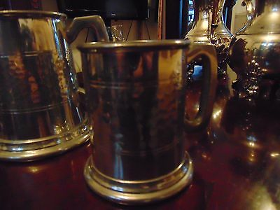 vintage silver pewter tankard made in sheffield england glass bottom 1/2 pint