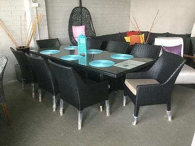 Wicker Outdoor Furniture dining setting 9 Pce Patio set Table and chairs Black