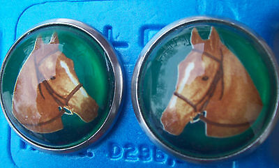 Bridle Rosettes Horse Head pair green background glass face new