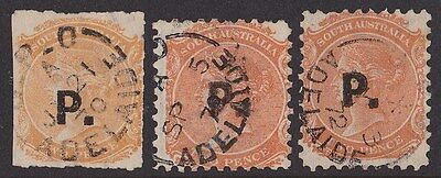 South Australia :  QV 2d Official with P (Police)  opt. 3 DIFF. SCARCE!