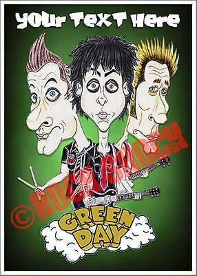 Green Day Caricature Personalised Greeting Card Birthday American Punk Rock ART