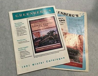 2 Vintage Greenberg's Catalogue Books, Guide to Lionel trains, 1991