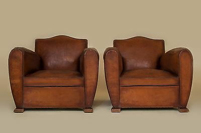 French-Vintage-Leather-Pair-of-Club-Chairs-1940 (Orleans)