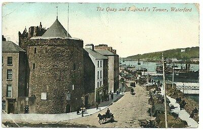 Vintage Postcard. The Quay and Reginald's Tower, Waterford. Used1915. Ref:71194