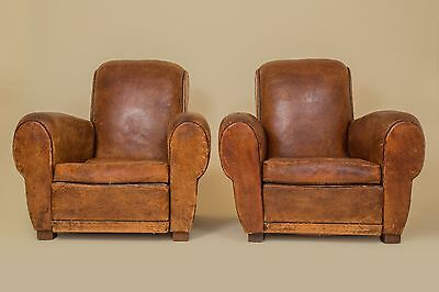 French Vintage Leather Pair of Club Chairs 1940 (Champs-elysees Art Deco)