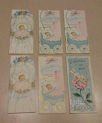 Vintage Baby Shower New Child Unused Greeting Cards MCM Bunny Carriage