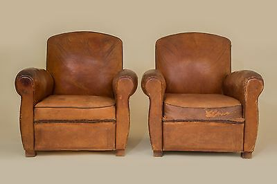 French Vintage Leather Pair of Club Chairs 1940 (Mont Saint-Michel)