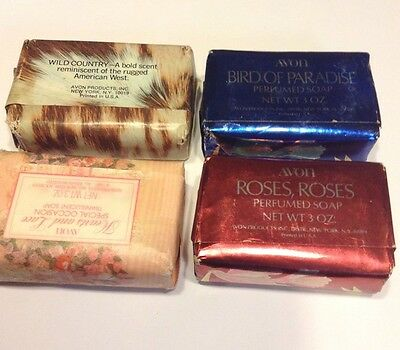 4 Vtg Bars Avon Soap Hearts and Love Wild Country Roses, Roses Bird of Paradise