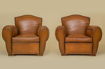 French Vintage Leather Pair of Club Chairs 1940 (Martigue Gendarme)