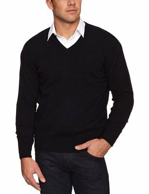 Blu (Blue (Dark Navy)) (TG. Small) Al Andalus - Maglia jumper con collo a V, man