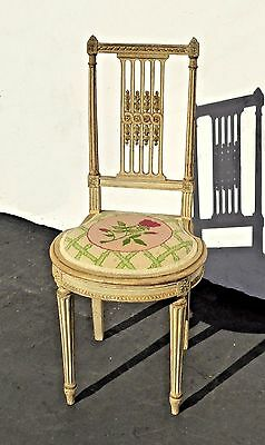 Vintage French Country Cottage Cream Off White Ladderback Floral Accent CHAIR