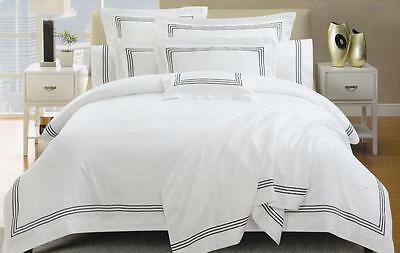 1000TC White Hotel Black Cotton Quilt Cover Set QUEEN SUPER KING Doona Duvet Set