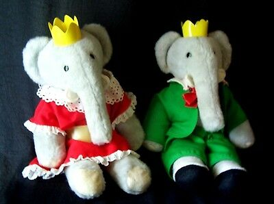 Vintage 1977 Eden King Babar & Queen Celeste Plush Elephants VGC