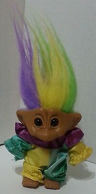 Troll Mardi Gras Vintage Unmarked Green purple yellow Hair & Satin like clothes
