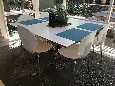 White and chrome dining chairs - set of 5.