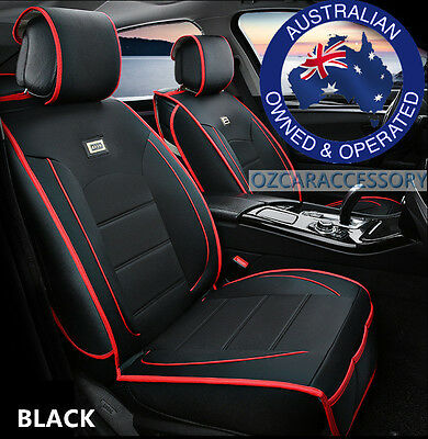 Black Universal Leather Car Seat Covers Full Set Toyota Camry Corolla RAV4 LSAY