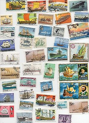 SHIPS on Stamps 60 All Different and Off Paper