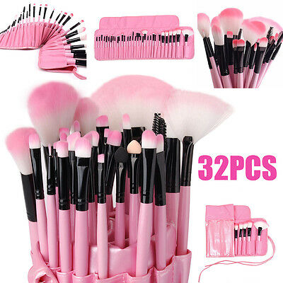 Professional 32Pcs Pink Makeup Brush Set Cosmetic Brushes Kit + Pouch Case