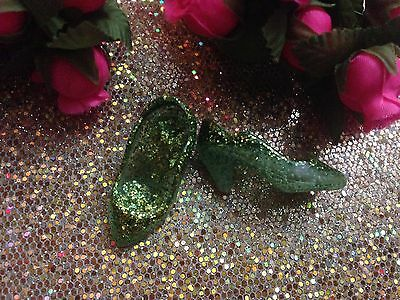 Vintage Custom Ooak Jem Fashion Doll Outfit Green Glitter Shoes ~