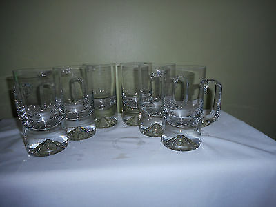 Krosno Beer Glasses/mugs With Handles 6 Made In Poland 1 Glass Has Tiny Chip