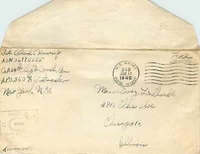 Lettre Cover US Army postal service Censored 1945