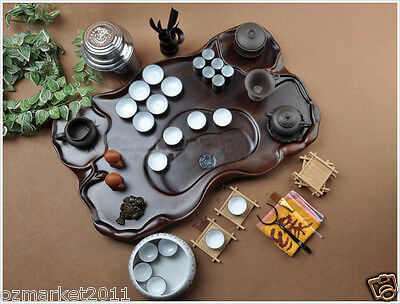 TC1111 Classical Wooden Tea Tray + Dark-red Pottery Teacup Kung fu Tea Set