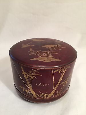 Vintage Chinese Red & Gilt Hand Painted Lacquer Pot