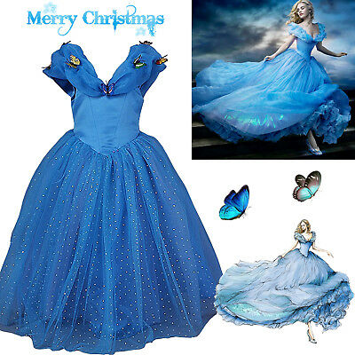 Girls Cinderella Princess Fancy Dress Up Fairytale Classic Party Costume Outfit