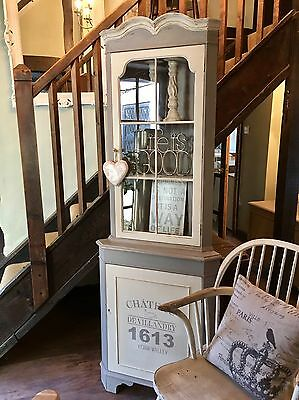 Shabby Chic Corner Cabinet In Annie Sloan French Linen And Old Ochre
